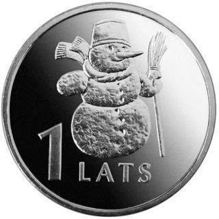 Latvian 1 Lat Coin Snowman 2007 photo