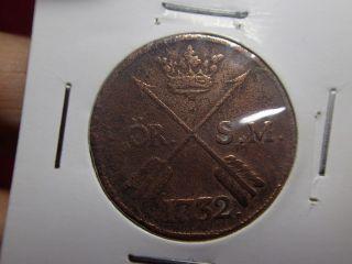 1732 Antique Copper Coin 1 Ör Sverige Sweden photo