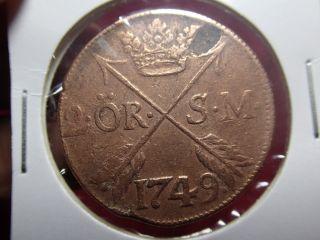 1749 Antique Copper Coin 2 Ör Sverige Sweden photo