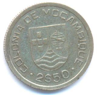 Mozambique 2.  50 Escudos 1935 Axf Km61 Silver Coin photo