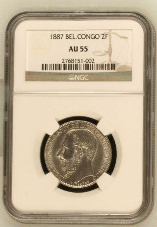 Belgian Congo 2 Franc 1887 Ngc Au55 photo