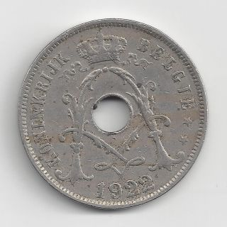 1922 Belgium 25 Centimes,  Circulated Coin photo