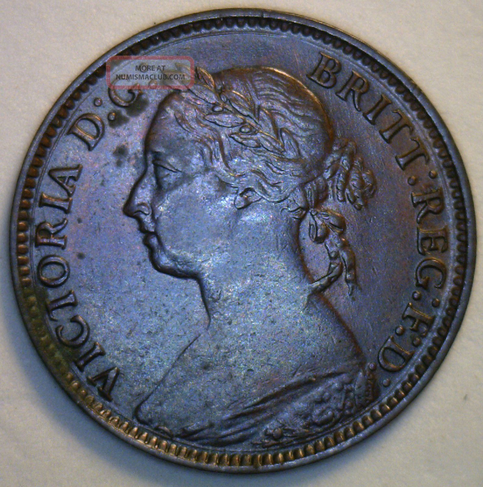 1881 H Bronze Farthing Great Britain Uk Coin Almost