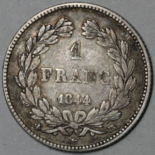 1844 - Bb Rare (76k) Strasbourg France Silver 1 Franc Louis Philippe I Coin photo
