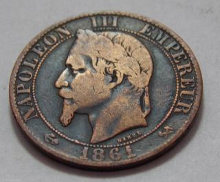 1861k France Bronze 5 Centimes Coin - Napoleon Iii - photo