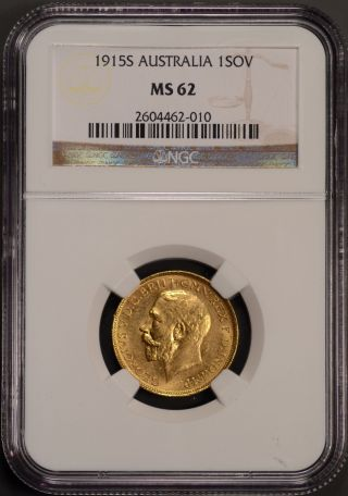 1915 S Australia Sovereign Gold Coin Sydney Mark Ngc Certified Ms62 photo