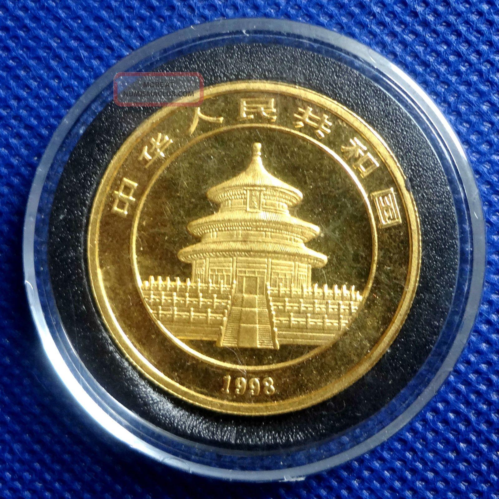 1998 China Panda 100 Yuan Small Date 1 Oz 999 Fine Gold Coin