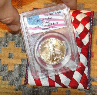 Very Rare Ground Zero1998 Pcgs Ms69 Gold Us Eagle Coin Wtc 9/11/01 Recovery L@@k photo