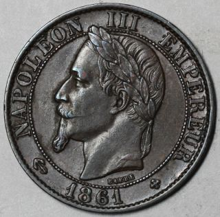 1861 - Bb Xf France 5 Centimes (napoleon Iii) 2nd Empire Coin photo