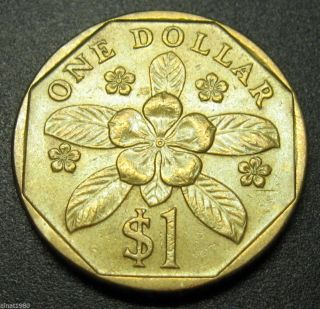 Singapore 1 Dollar Coin 1995 Km 103 Flower A1 Photo
