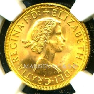 1958 Britain Q E Ii Gold Coin Sovereign Ngc Cert Ms 64 Luster photo