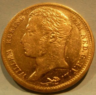 Netherlands 1832 Gold 10 Gulden Circulated photo