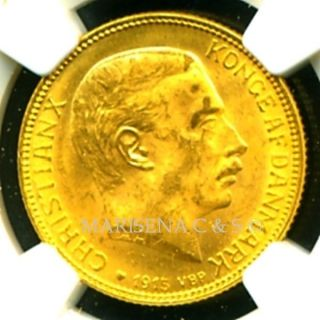 1915 Vbp Denmark Gold Coin 20 Kroner Ngc Cert Ms 62 Marvelous Luster photo