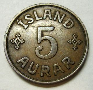 Iceland 5 Aurar Coin 1942 Km 7.  2 photo