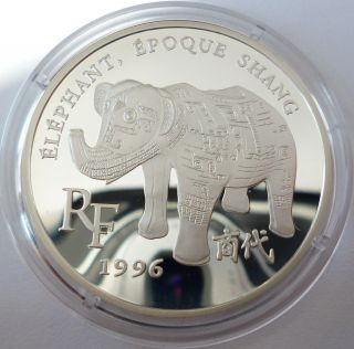 France 10 Francs 1 1/2 Euro 1996 Shang Dynasty Elephant Silver Coin Proof photo