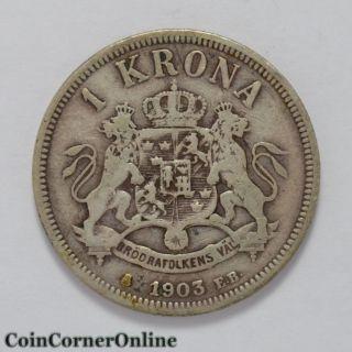 1903 Sweden Silver 1 Krona (ccx344) photo