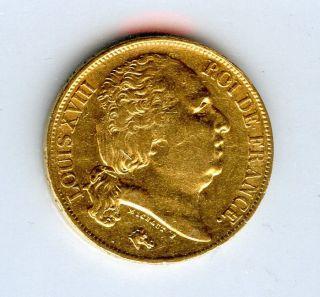 1817 A France Louis Xviii Gold Coin 20 Francs Rare Year photo