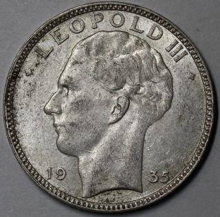 1935 Belgium Silver 20 Francs King Albert (postion A Coin) photo