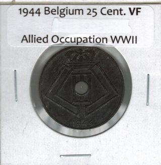 1944 Belgium 25 Centimes Allied Occupation Ww Ii Vf Km 132 Zinc photo