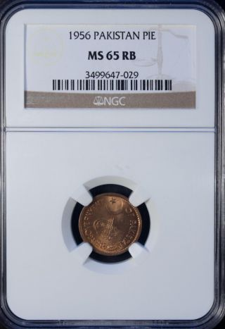 1956 Pakistan 1 Pie Ngc Ms 65 Rb Unc Bronze photo