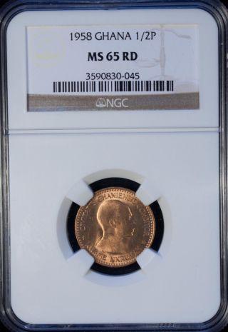 1958 Ghana 1/2 Penny Ngc Ms 65 Rd Unc Bronze photo