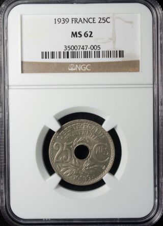 1939 France 25 Centimes Ngc Ms 62 Unc Copper Nickel photo