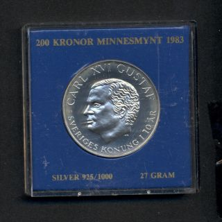 Sweden 200 Kroner Proof 10th Anniversary Of Reign 1973 - 1983 photo