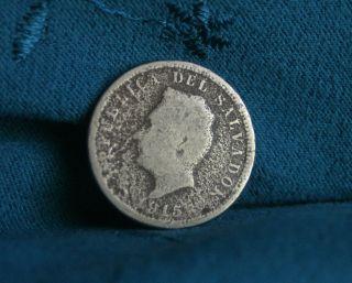 1915 El Salvador 5 Centavos World Coin Central America Francisco Morazan photo