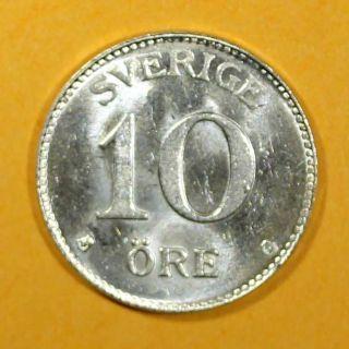 Sweden Silver Gustaf V 1941 10 Ore Unc Km 780 photo