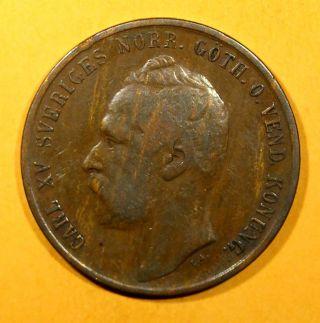 Sweden Bronze Carl Xv Adolf 1861 5 Ore Vf Low Mintage Km 707 photo
