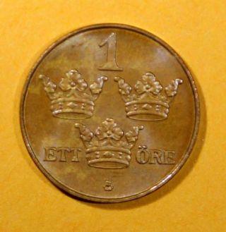 Sweden Bronze Gustaf V 1925 1 Ore Unc.  Km 777.  2 photo