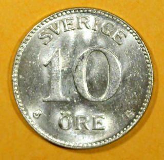 Sweden Silver Gustaf V 1935 10 Ore Unc Km 780 photo