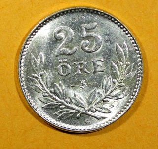 Sweden Silver Gustav V 1941 25 Ore Last Year For Type Unc Km 785 photo