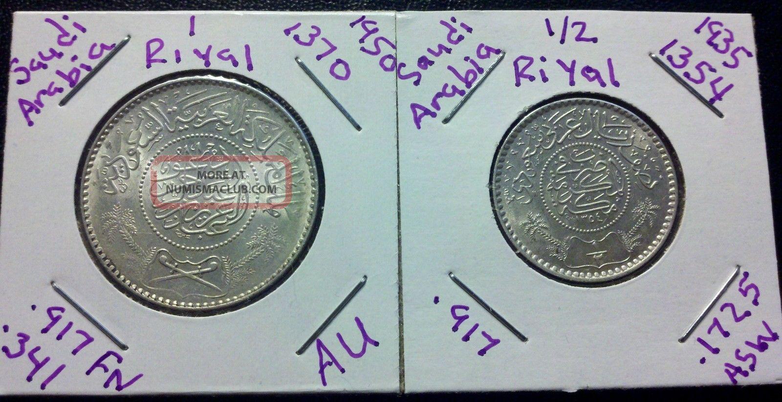Saudi Arabia Silver 1935 1 2 Amp Silver 1950 1 Riyal Coin