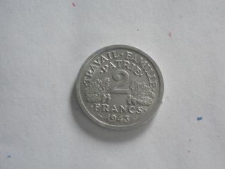 Wwii 1943 France 2 Franc. . .  Vichy State Issue. . photo