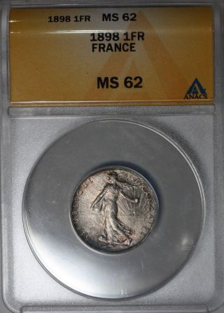 1898 Anacs Ms 62 France Silver 1 Franc Semeuse (sower) Type Toning photo