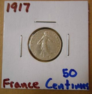 1917 50 Centimes France.  835 /.  0671 Asw photo
