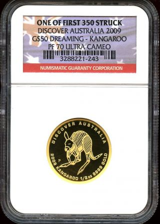 2009 $50 Gold Discover Australia Dreaming Kangaroo Ngc Pf70uc 1 Of 1st 350 photo