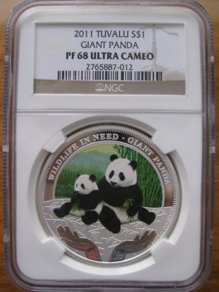 Tuvalu 2011 Pandas Silver Proof Ngc Pf68 photo