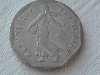 1992 France 2 Francs World Coin,  Nickel,  Seed Sower,  D.  Apres,  O.  Roty photo