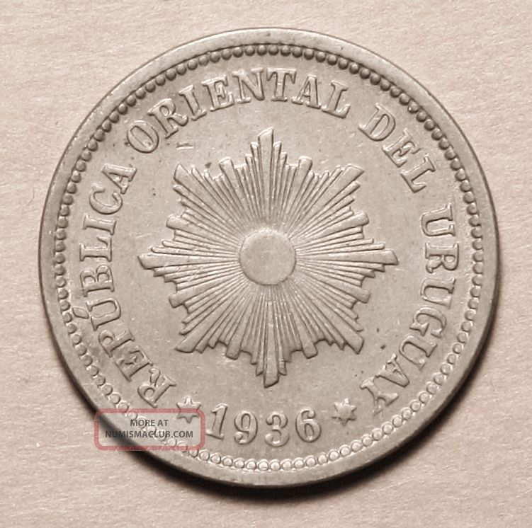 Uruguay 2 Centesimos 1936 Uncirculated Coin Key Date South America photo