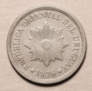 Uruguay 2 Centesimos 1936 Uncirculated Coin Key Date photo