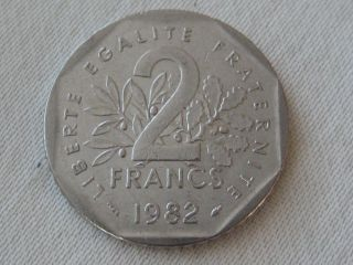 1982 France 2 Francs World Coin,  Nickel,  Seed Sower,  Branches photo