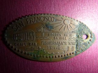 San Francisco - Cable Car - Golden Gate - Fisherman ' S Wharf - Smashed Elongated Penny photo