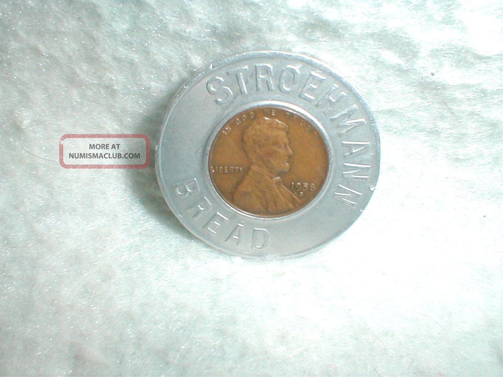 1958 Good Luck Wheat Penny Coin Token Stroehmann Bread Souvenir Exonumia photo