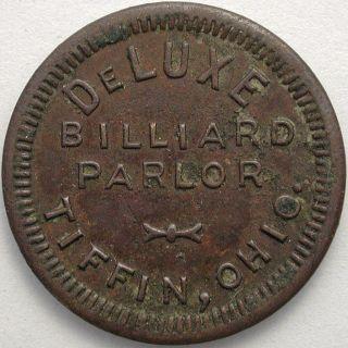 Deluxe Billiard Parlor,  Tiffin,  Ohio 10 Cent Token photo