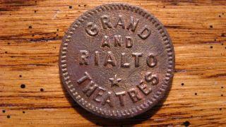 Grand And Rialto Theatres Reno,  Nevada Nv 5¢ On Admissions Trade Token 1919 photo
