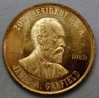 James A.  Garfield 20th President Of The U.  S.  A.  Brass Collector Token. . .  10607 photo