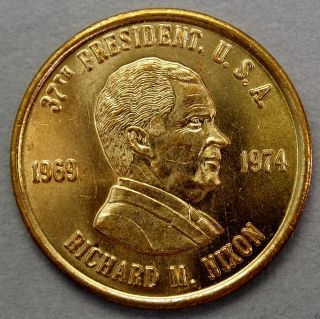 Richard M.  Nixon 37th President Of The U.  S.  A.  Brass Collector Token. .  10609 photo