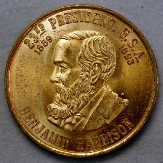 Benjamin Harrison 23th President Of The U.  S.  A.  Brass Collectors Token. . .  10610 photo